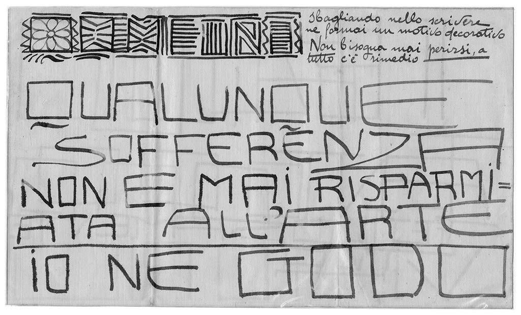 Qualunque sofferenza, pag.1, penna su carta, 1924, collezione privata