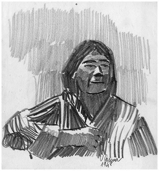 Donna interloquente, matita su carta, 1948, collezione privata