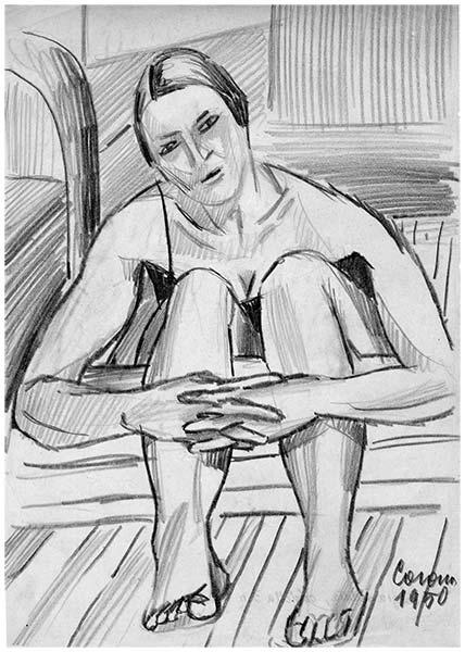 Gigia in posa, matita su carta, 1950, collezione privata