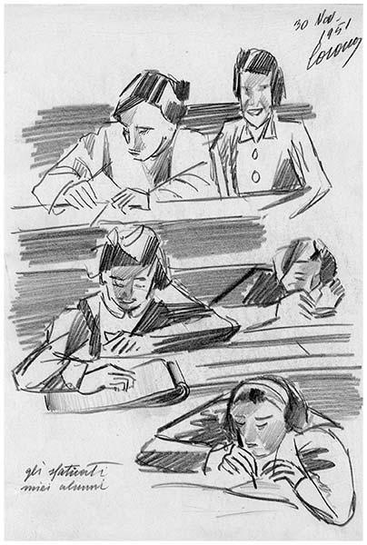 Gli sfaticati miei alunni, matita su carta, 1951, collezione privata
