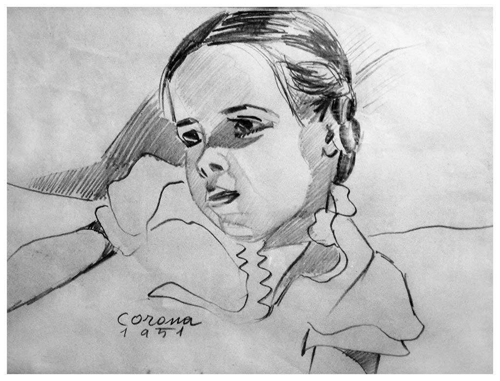 Maria Teresa, matita su carta, 1951, collezione privata