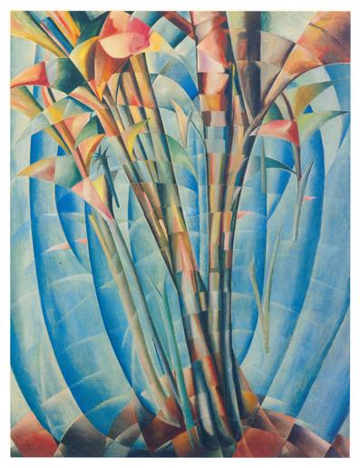 Palme e vegetazione, olio su tela, 255x205, versione anni 50, collezione privata