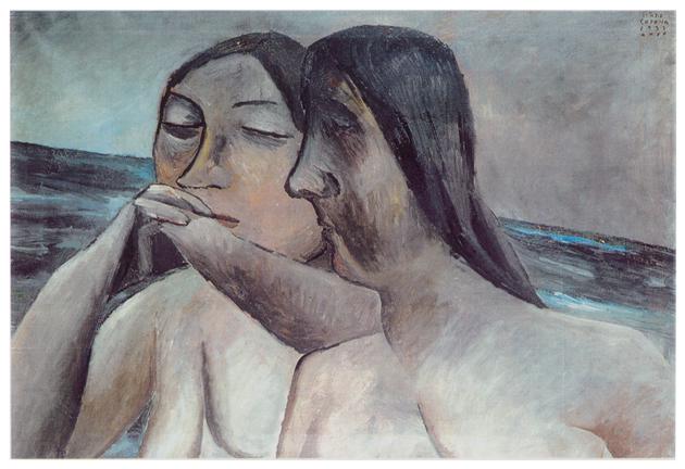 Sorelle latine riflettete, olio su tela, cm 65x95, 1932, collezione privata