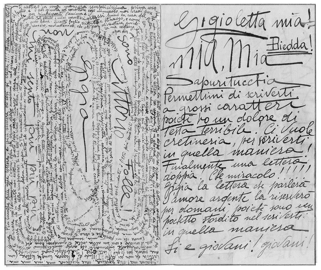 Gigioletta mia! Biedda!, pag.1, penna su carta, 1924, collezione privata