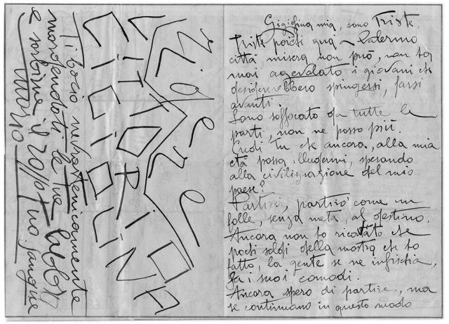 Gigiolina mia, sono triste, pag.1, penna su carta, 1924, collezione privata