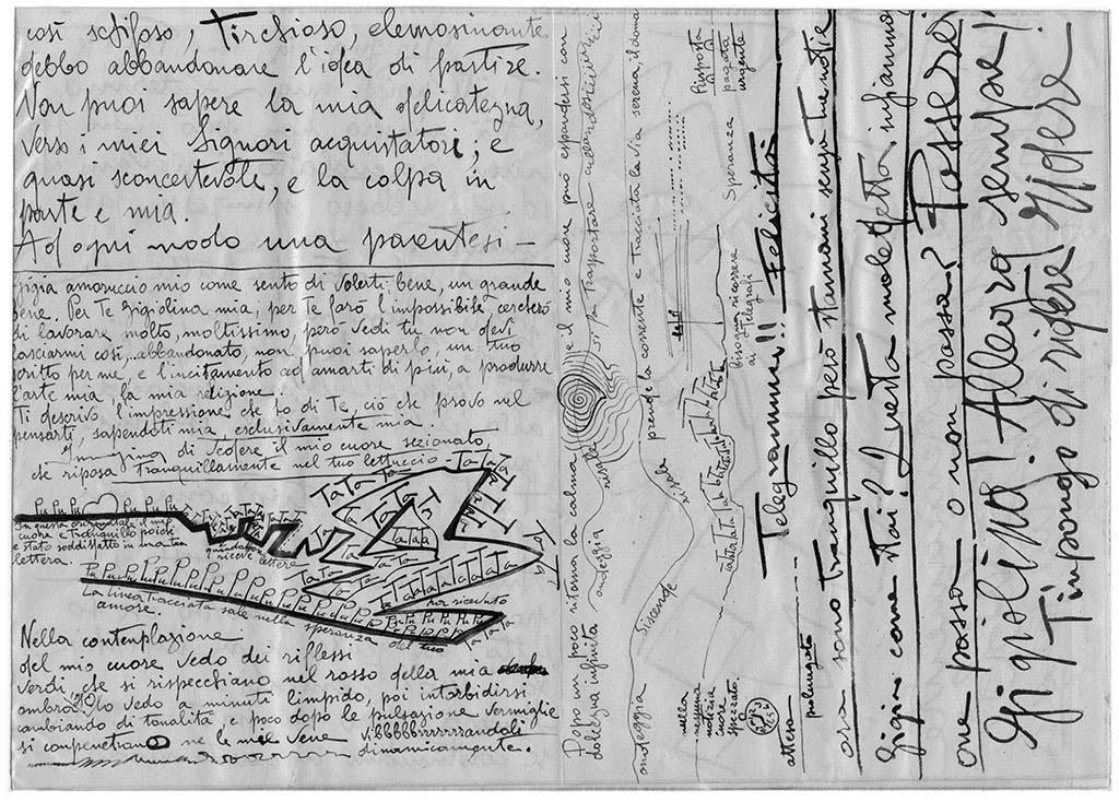 Gigiolina mia, sono triste, pag.2, penna su carta, 1924, collezione privata