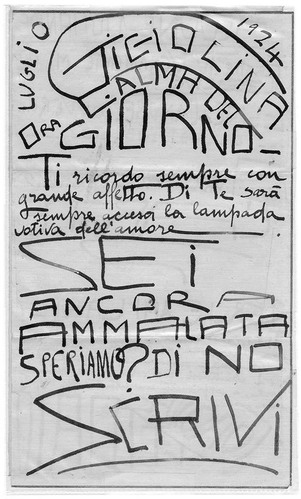Gigiolina ora calma del giorno, pag.1, penna su carta, 1924, collezione privata