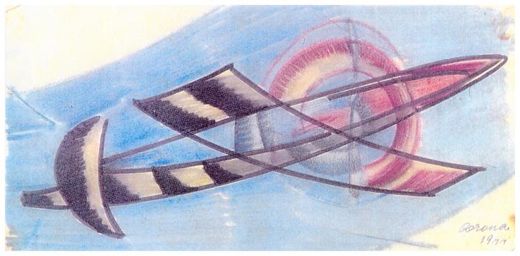 Aereo, pastello e pennarello su carta, 1944, collezione privata