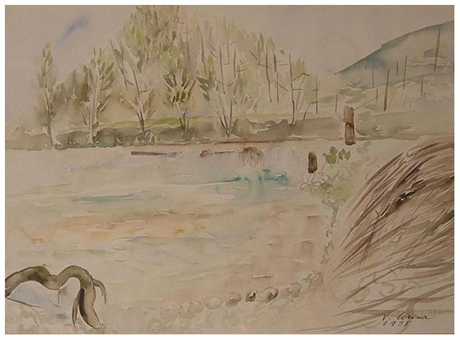 Al fiume, acquerello, 1937, collezione privata