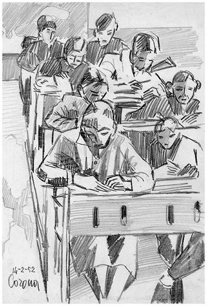 Alunni, matita su carta, 1952, collezione privata