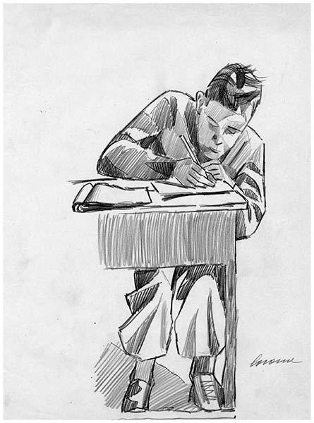 Alunno, matita su carta, 1951, collezione privata