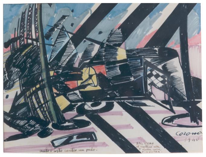 Auto + urto contro un palo, tempera, 1940, collezione privata