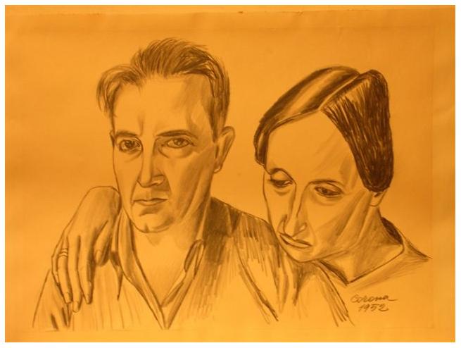 Autoritratto con moglie, matita su carta, 1952, collezione privata