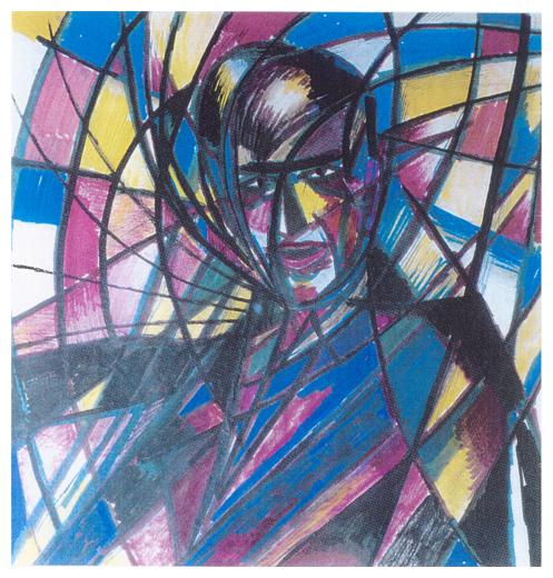 Autoritratto futurista, inchiostro e pennarello su carta, anni 50, collezione privata