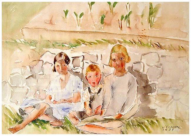 Bambine, acquerello, 1937, collezione privata