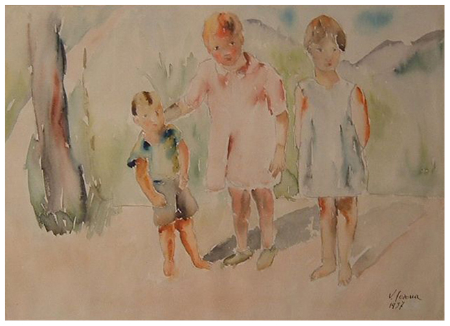 Bimbi, acquerello, 1937, collezione privata