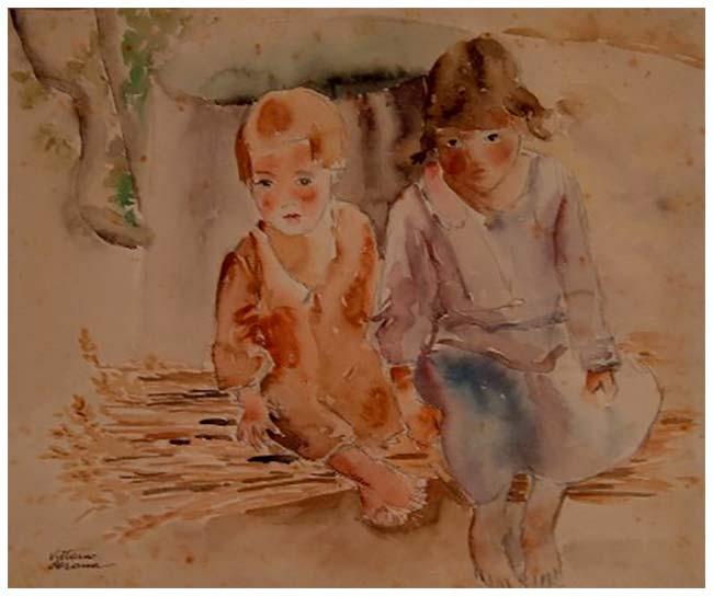 Bimbi sloveni, acquerello, 1937, collezione privata