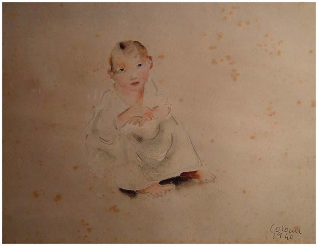 Bimbo, acquerello, 1940, collezione privata