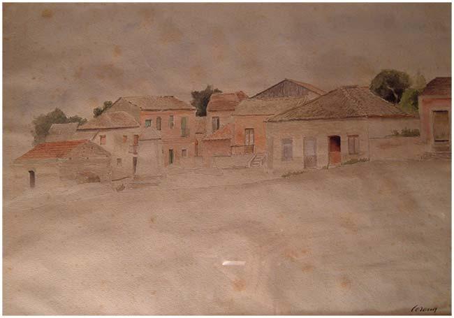 Borgo, acquerello, 1933, collezione privata
