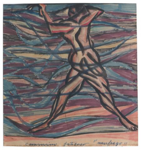 Cammino faticoso -naufrago-, inchiostro e tempera su carta, anni 60, collezione privata