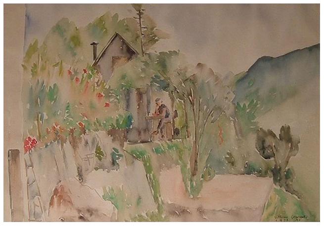 Casa alpina, acquerello, 1937, collezione privata