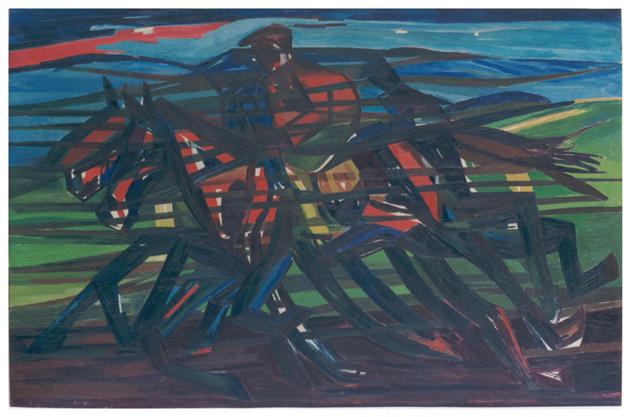 Cavalli in corsa, olio su tela, 101,5x156, versione anni 50, collezione privata