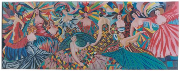 Danzatrici, olio su tela, 87,8x228, versione anni 50, collezione privata