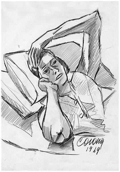 Gigia, 2, matita su carta, 1949, collezione privata