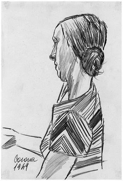 Gigia, matita su cartoncino, 1949, collezione privata