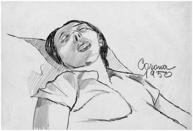 Gigia addormentata, matita su carta, 1950, collezione privata