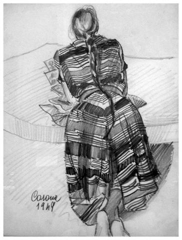 Gigia che prega, matita su carta, 1949, collezione privata