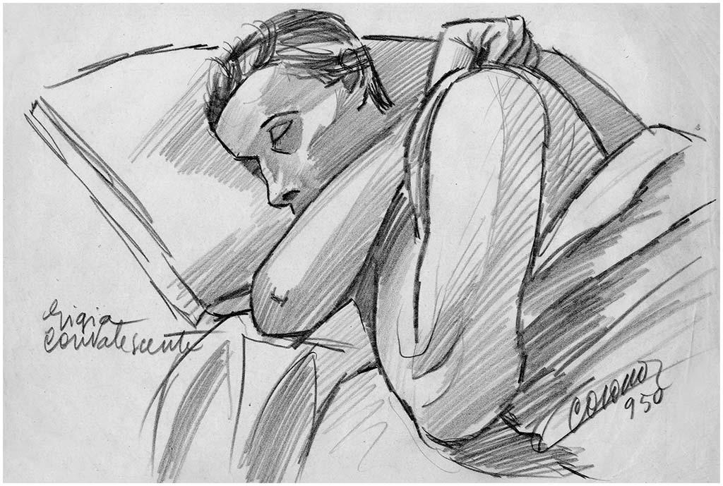 Gigia convalescente, matita su carta, 1950, collezione privata