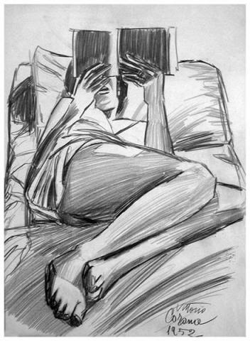 Gigia distesa che legge, matita su carta, 1952, collezione privata