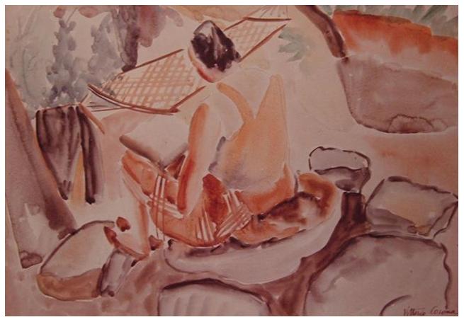 Gigia e amaca, acquerello, 1935, collezione privata