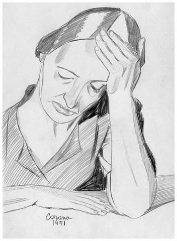 Gigia pensosa, matita su carta, 1951, collezione privata
