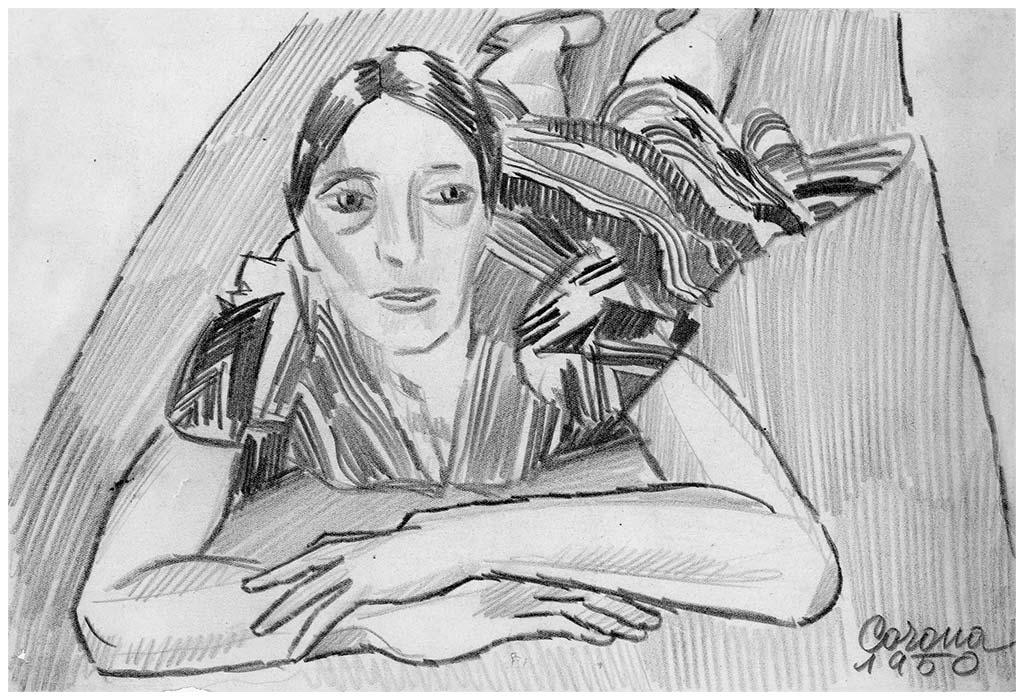 Gigia sdraiata, matita su carta, 1950, collezione privata