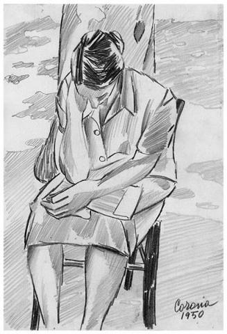Gigia seduta, matita su carta, 1950, collezione privata
