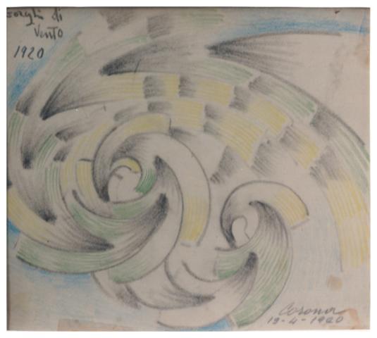 Gorghi di vento, carboncino e pastello su carta, 1920, collezione privata