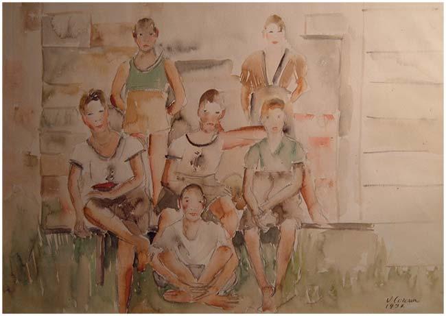 Gruppo di ragazzi, acquerello, 1937, collezione privata