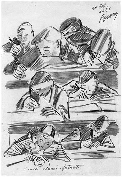I miei alunni sfaticati, matita su carta, 1951, collezione privata