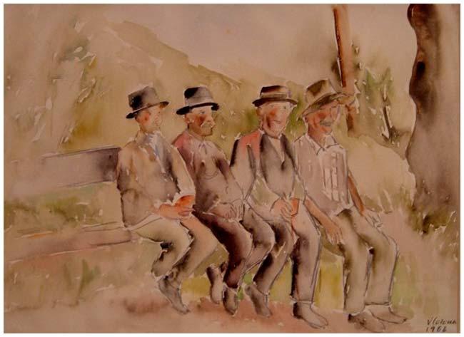 I pensionati, acquerello, 1964, collezione privata
