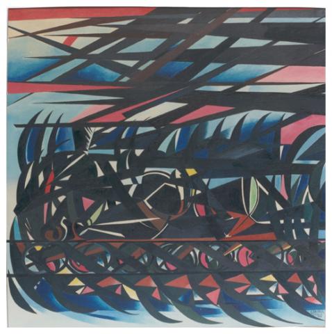 Il trenino, olio su tela, 120,5x120,5, 1963, collezione privata