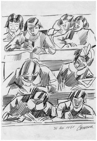 In classe, 1, matita su carta, 1951, collezione privata