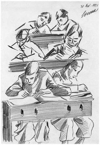 In classe, 2, matita su carta, 1951, collezione privata