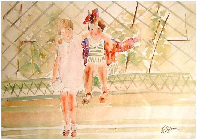 In posa, acquerello, 1937, collezione privata