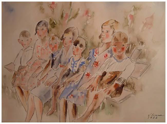 In posa, acquerello, 1964, collezione privata