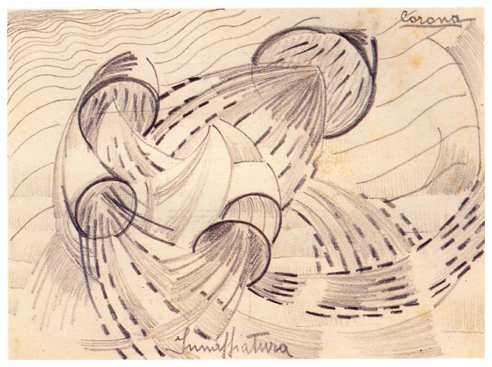 Innaffiatura, matita su cartoncino, anni 60, collezione privata