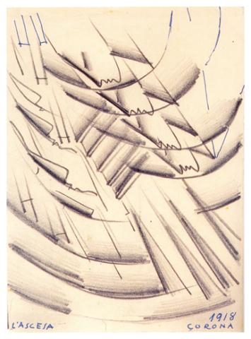 L ;ascesa, matita su cartoncino, post 1926, collezione privata