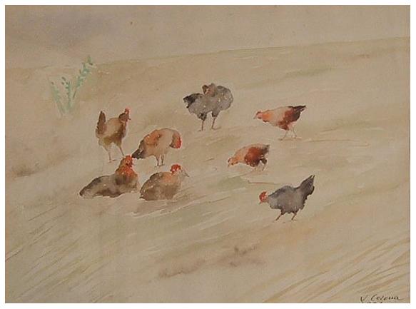 Le galline, acquerello, 1937, collezione privata