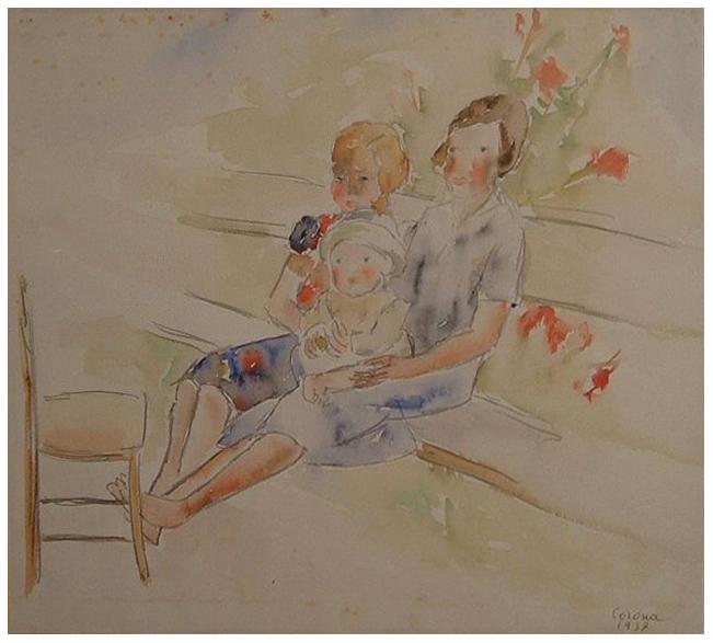 Madre con figli, acquerello, 1937, collezione privata